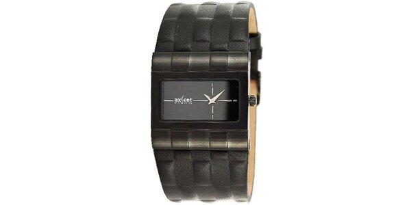 Pánské černé hodinky s koženým řemínkem Axcent
