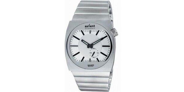 Pánské ocelové hodinky s bílým kulatým analogovým ciferníkem Axcent