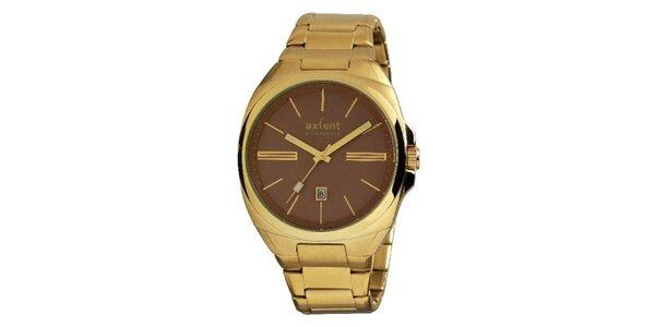 Pánské pozlacené ocelové hodinky s hnědým kulatým analogovým ciferníkem Axcent
