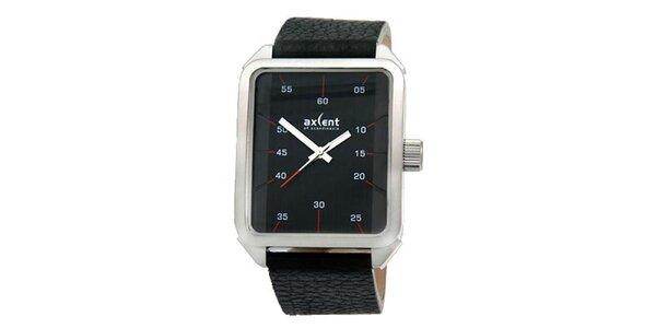 Pánské černé obdélníkové hodinky Axcent
