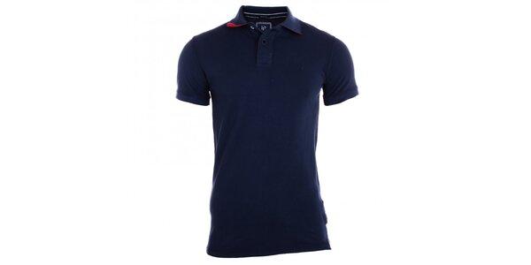 Pánské indigově modré polo tričko s bílými knoflíky Pietro Filipi