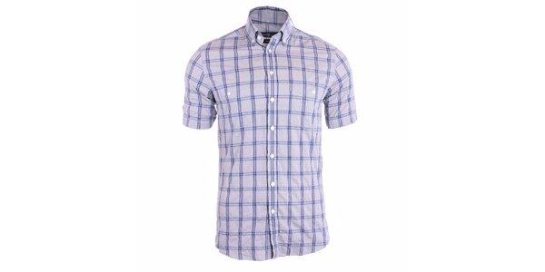 Pánská modrá károvaná košile s krátkými rukávy Pietro Filipi