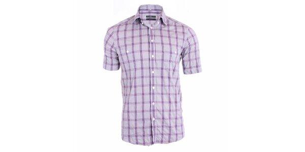 Pánská šedá košile s fialovými pruhy Pietro Filipi