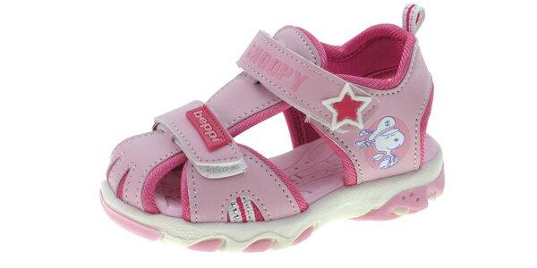 Dětské růžové kožené sandálky Beppi