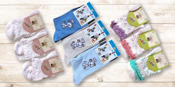 6 párů dětských ponožek s různými motivy