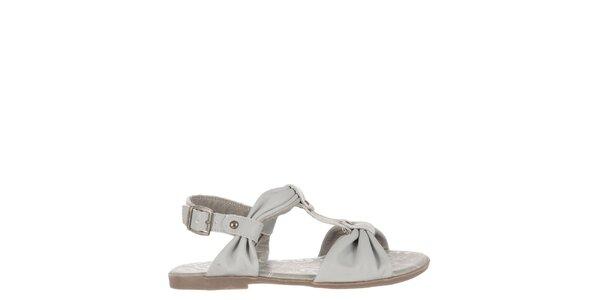 Dětské světle šedé kožené sandálky Billowy