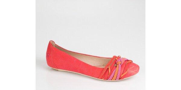 Dámské zářivě červené balerínky Bronx s pásky