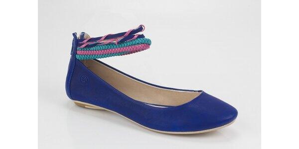 Dámské balerínky Bronx se stylovými pásky v barvě námořnické modři