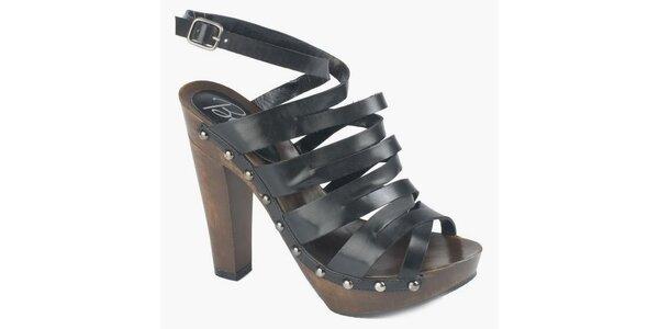 Dámské černé sandály Bronx na vysokém podpatku