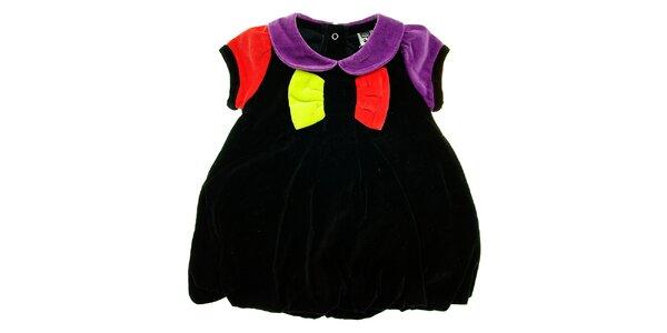 Dětské černé sametové šatičky Tuc Tuc s barevnou mašlí