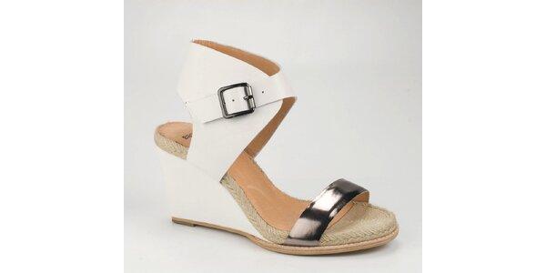 Dámské bílé kožené sandály Bronx na vysokém klínku