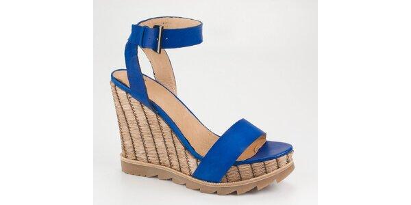 Dámské zářivě modré sandály Bronx na vysokém klínku