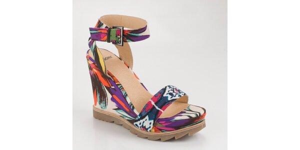Dámské pestrobarevné sandály Bronx na vysokém klínku