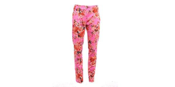 Dámské růžové květinové kalhoty Pietro Filipi