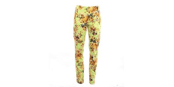Dámské zelené květinové kalhoty Pietro Filipi
