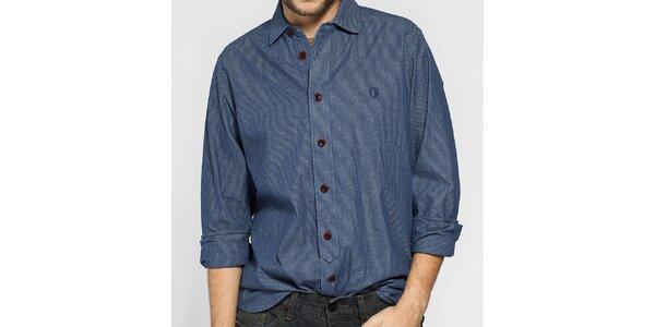 Pánská tmavě modrá proužkovaná košile Ben Sherman