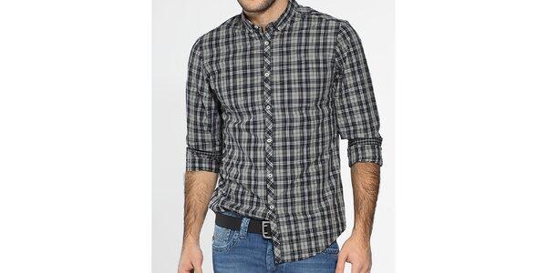 Pánská černobílá kostkovaná košile Ben Sherman