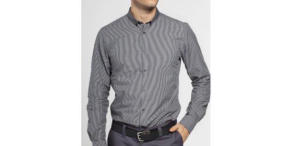 Pánská černobílá proužkovaná košile Ben Sherman