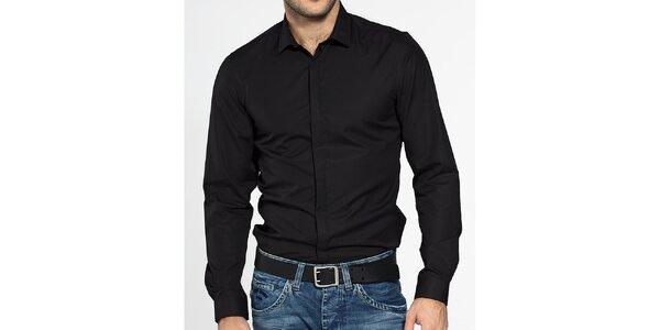 Pánská černá košile Ben Sherman s krytou légou