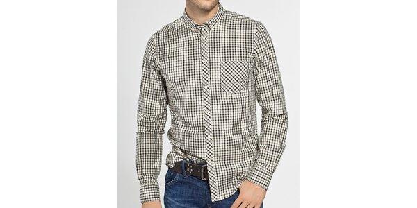 Pánská černobílá kostičkovaná košile Ben Sherman
