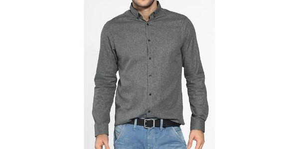 Pánská šedá košile Ben Sherman s černým ornamentálním potiskem