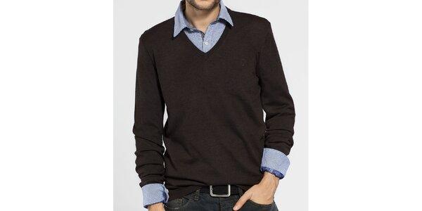 Pánský tmavě hnědý svetr Ben Sherman