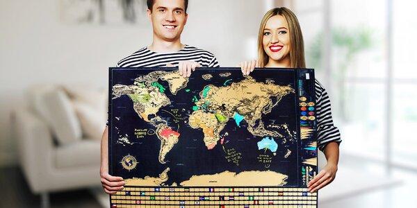 Velká stírací mapa světa a sada příslušenství