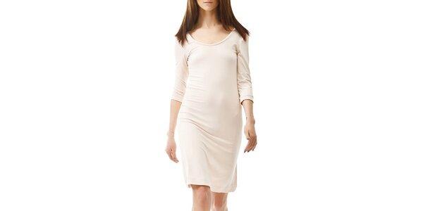 Dámské béžové šaty s 3/4 rukávem Yuliya Babich