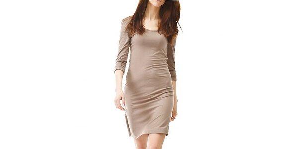 Dámské hnědo-béžové šaty s 3/4 rukávem Yuliya Babich