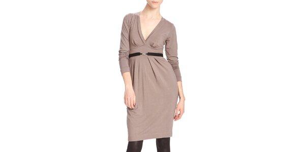 Dámské hnědo-béžové šaty s černým páskem Yuliya Babich