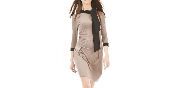 Dámské hnědé šaty s černou šálkou Yuliya Babich