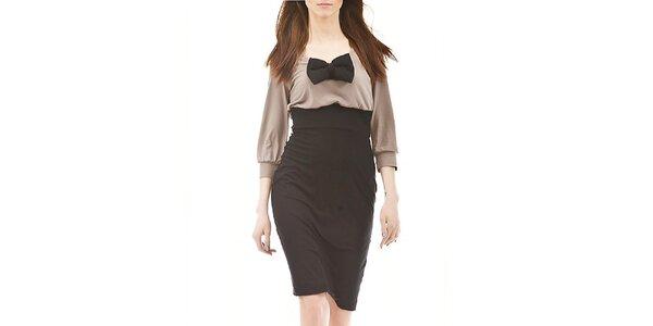 Dámské černo-hnědé šaty s motýlkem Yuliya Babich