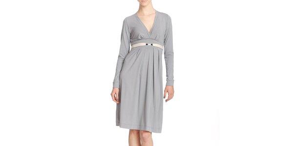 Dámské šedé šaty s páskem Yuliya Babich
