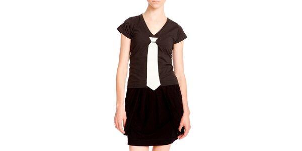 Dámské černé tričko s kravatou Yuliya Babich