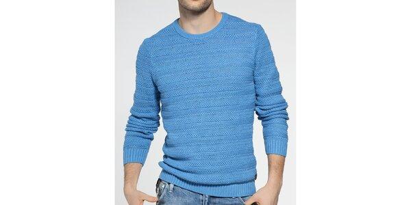 Pánský azurově modrý pletený svetr Ben Sherman