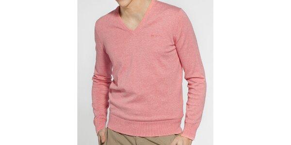 Pánský světle růžový melírovaný svetr Ben Sherman