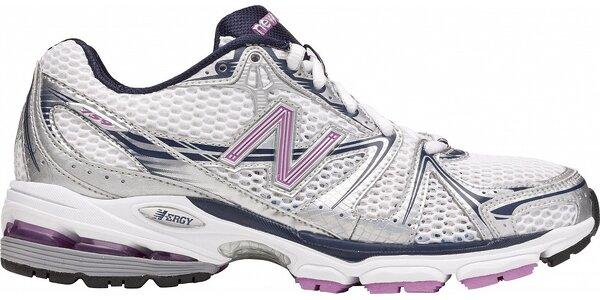 Dámské šedo-stříbrné běžecké boty New Balance s růžovými detaily
