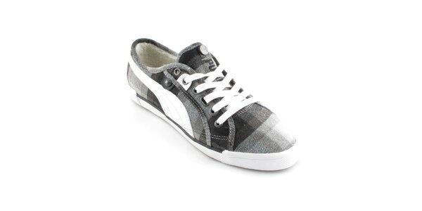 Dámské černo-šedé tenisky Puma s kožíškem