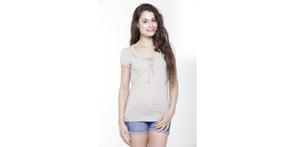 Dámské béžové triko s krátkým rukávem a mašličkou Peace&Love