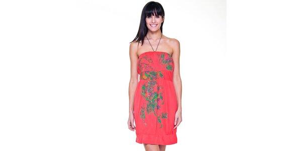 Dámské růžové šaty se zeleným vzorem Peace&Love