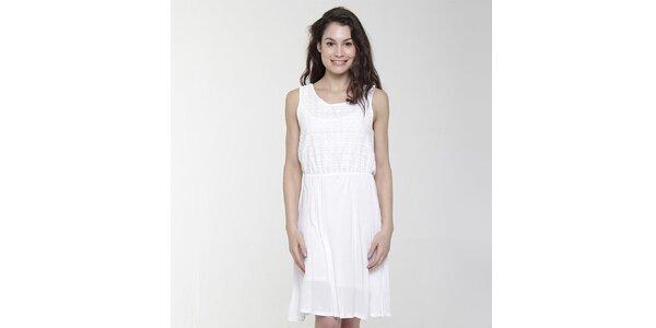 Dámské bílé šaty s ozdobným perforováním Peace & Love