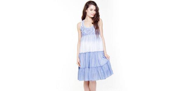 Dámské modro-bílé šaty s volány Peace&Love