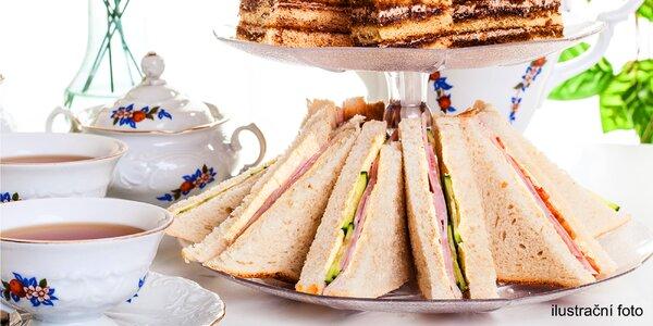 Čaj o páté se sendviči, sladkostmi i kávou pro 2
