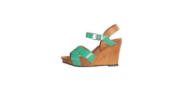 Dámské zeleno-karamelové sandále na klínku Dr. Scholl