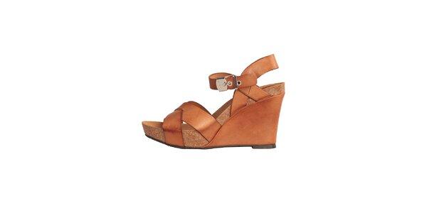 Dámské karamelově hnědé kožené sandále na klínku Dr. Scholl