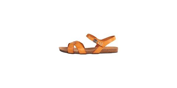 Dámské oranžové kožené sandálky Dr. Scholl