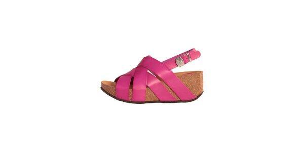Dámské fuchsiové kožené sandálky Dr. Scholl