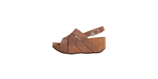 Dámské hnědé semišové kožené sandálky Dr. Scholl