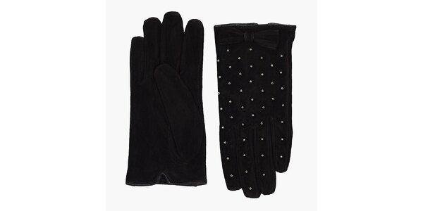 Dámské černé semišové rukavice French Connection s vykládanými kamínky