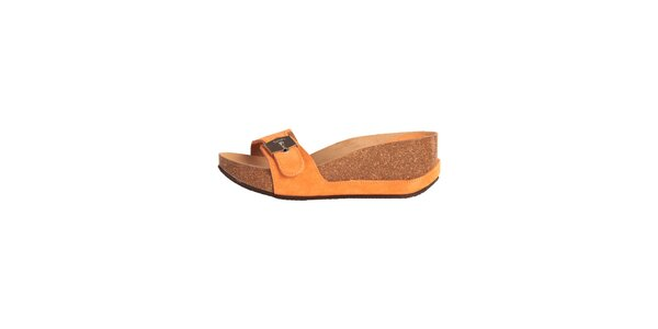 Dámské oranžové pantoflíčky se stříbrnou přezkou Dr. Scholl